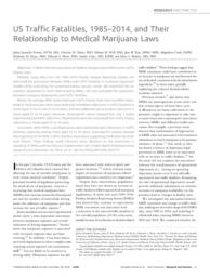 thumnail for Santaella_US Traffic Fatalities, 1985-2014, and Their Relationship to Medical Marijuana Laws.pdf
