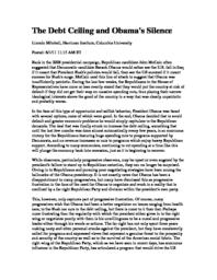 thumnail for Debt_Ceiling_and_Obama_s_Silence.pdf