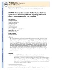 thumnail for Klitzman_HIV-AIDS Research Conducted in the Devl World and Sponsored by the Devel World.pdf