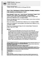 thumnail for Zainabadi K et al one in four 11q13 deletion Genomics 2014.pdf