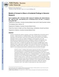 thumnail for Klitlzman_Models of Consent to Return of IFis in Genomic Research.pdf