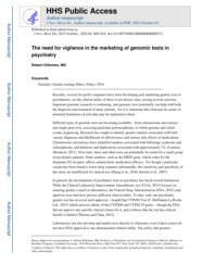 thumnail for Klitzman_The need for vigilance in the marketing of genomic tests in psychiatry.pdf