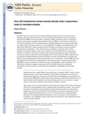 thumnail for Klitzman_How US institutional review boards decide when researchers need to translate studies.pdf