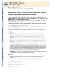 thumnail for Klitzman_Researchers' views on return of incidental genomic research results_ qual and quant findings.pdf