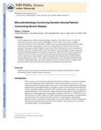 thumnail for Klitzman_Misunderstandings Concerning Genetics Among Patients Confronting Genetic Disease.pdf