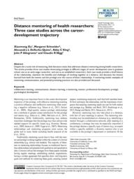 thumnail for Xu et al. Distance Mentoring of Health Researchers - Health Psych Open 2017.pdf