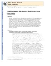 thumnail for Klitzman_How IRBs View and Make Decisions About Consent Forms.pdf