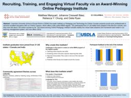 thumnail for Marquart Creswell Baez Chung Ryan_NSWM 2019_Recruiting Training Engaging Virtual Faculty via an Award-Winning Online Pedagogy Institute.pdf