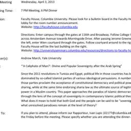 Announcements, 2013-04-03. ...