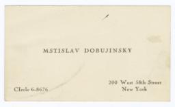Mstislav Dobujinsky  Business Card