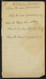 Study-Themes, undated : autograph manuscript notes