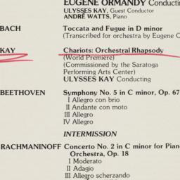 Saratoga Concert program
