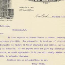 Mercantile Agency. Letter