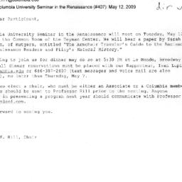 Announcements, 2009-05-12. ...