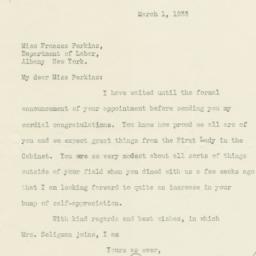 Letter from Edwin Seligman ...