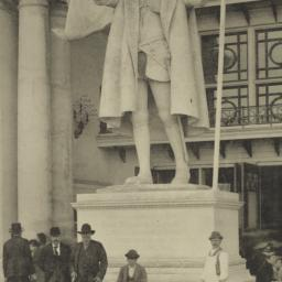 Statue of Columbus in front...
