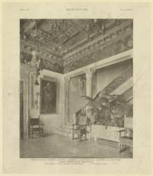 Plate XXXIV. Main staircase, second floor hall, Residence, Payne Whitney, 972 Fifth Ave., New York. McKim, Mead & White, Architects. T. D. Wadelton, Interior Decorations and Woodwork. F. B. Johnston, Photo