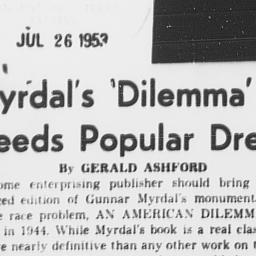 "Article, ""Myrdal's 'Dilemma..."