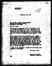 Letter from Rowena S. Hadsell to Joseph C. Bevis, September 20, 1940