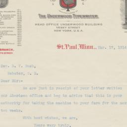 Underwood Typewriter Co. le...