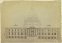 Design for the Rhode Island State House, North Elevation. McKim, Mead and White, Architects