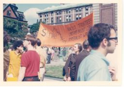 1968 counter commencement with orange banner
