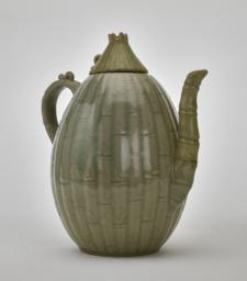 Celadon melon-shaped ewer and lid with bamboo and floral design, Side 3/4
