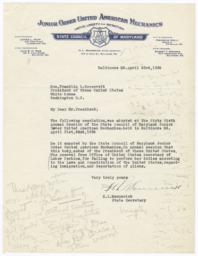 Letter from H. L. Mennerick, Secretary of the Junior Order of United American Mechanics State Council of Maryland, to President Franklin Delano Roosevelt about Secretary of Labor Perkins