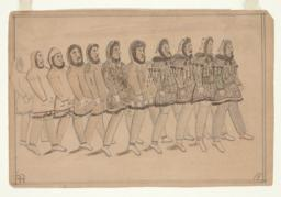 Line of Eleven Men Carrying Pipes (recto)