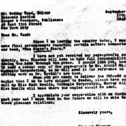 Letter from Richard Sterner...