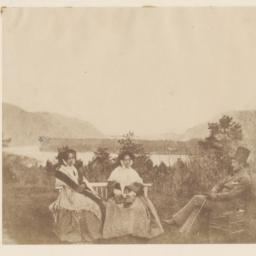 Two Seated Women and Man by...