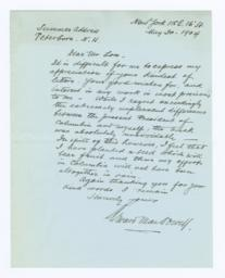 Autograph Letter, Signed to Seth Low