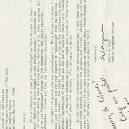 Letter from Wayne J. Pond t...