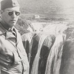 Barney Rosset With Waterfall