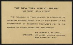 Presentation of Frederick Douglass' Pen at New York Public Library, 31 March [no year] : invitation