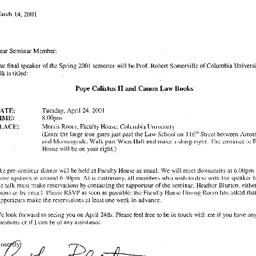 Announcements, 2001-04-24. ...