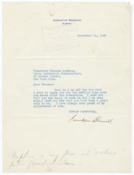 Typed letter to Frances Perkins from Governor Franklin Roosevelt, with autograph note by Perkins