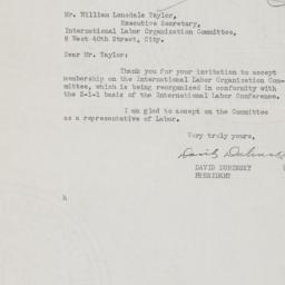 Letter from David Dubinsky ...