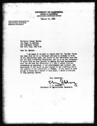 Letter from C.L. Alsberg to Gunnar Myrdal, January 31, 1940