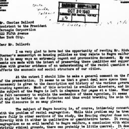 Letter from Miles L. Colean...