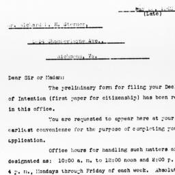 Letter from Paul W. Kear ac...