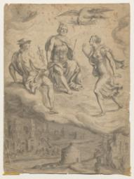 Venus and Mercury before Jupiter with a Scene from the Trojan War