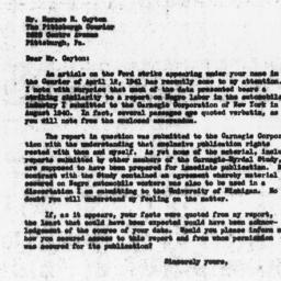 Letter from Lloyd H. Bailer...