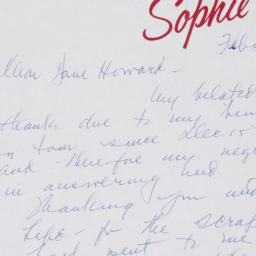 Letter from Sophie Tucker t...