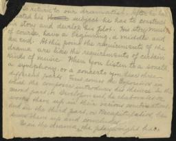 To Return to Our Dramatist, undated : autograph manuscript fragment
