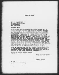 Letter from Gunnar Myrdal to T. Arnold Hill, April 6, 1940