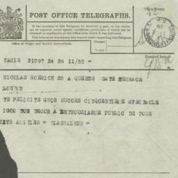 "Telegram from ""Diaghileur"" ..."