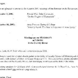 Announcements, 2001-10-02. ...