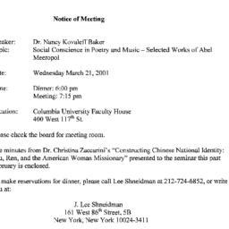 Announcements, 2001-03-21. ...