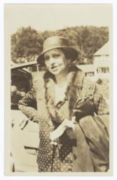 Frances Perkins Standing by Car
